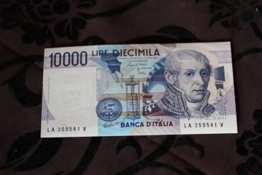 10 000 Lire Schein Diecimila Bankfrisch