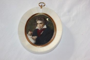 Ludwig van Beethoven Miniaturmalerei auf Bein.