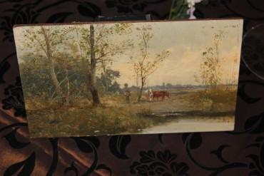 Ölbild vor 1900 weidende Kühe