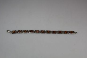 Antikes Bernstein Armband 925 Sterling Silber mit Frauenkopf