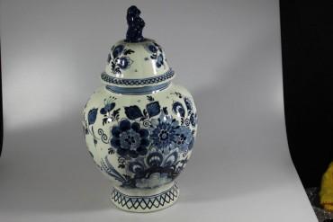 Delfter Deckelvase / Vase Koninklijke Goedewaagen Blauweiß Delft Holland 33 cm