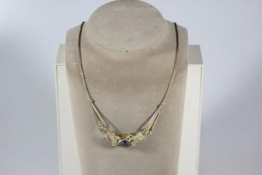 Traumhaft schönes Collier Art Deko mit blauen geschliffenen Stein