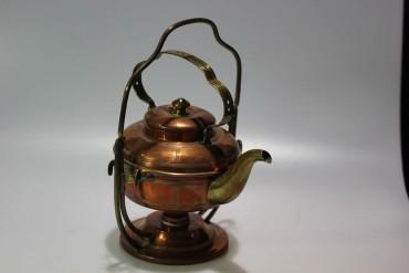 Teekanne mit Rechaud (Kocher) aus Kupfer um 1900
