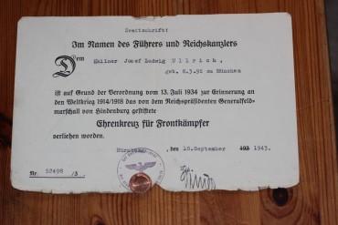 Urkunde Ehrenkreuz für Frontkämpfer 1943