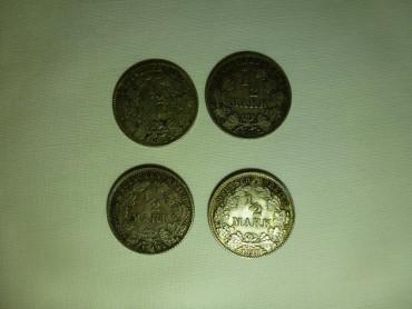 Vier Orginal 1/2 Reichsmark Münzen